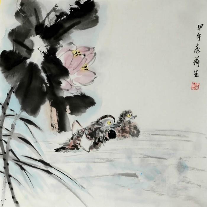 王洪凯小尺寸花鸟画国画荷花《荷花鸳鸯图》