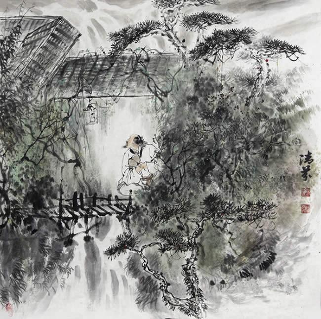 张清芬 山水画《山水小品》