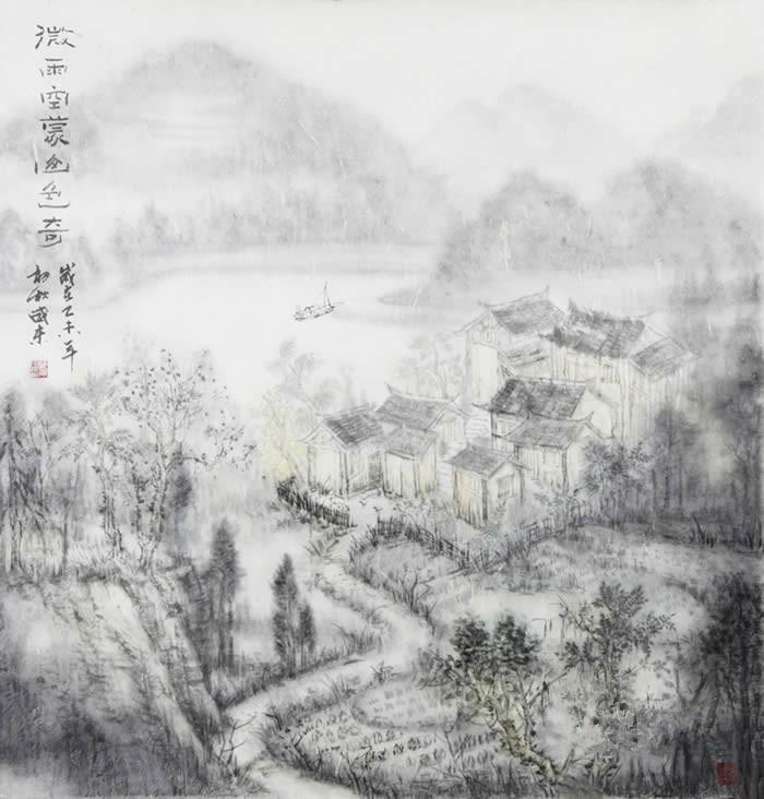 潘威东山水画《微雨空孟山色奇》