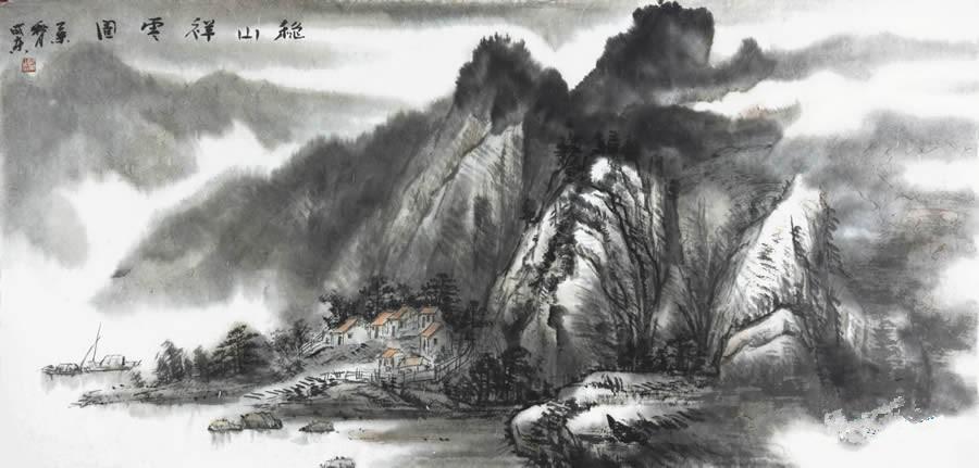 潘威东 山水画《秋山祥云图》