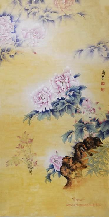 张清芬 花鸟画《工笔牡丹》