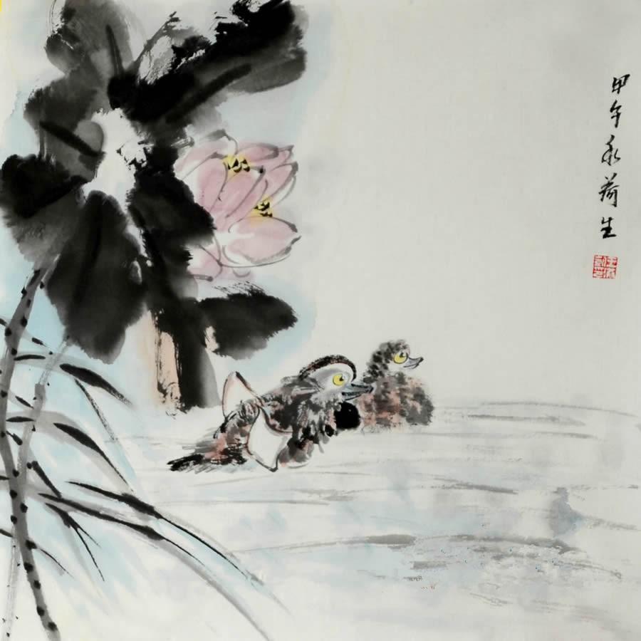 王洪凯 花鸟画《荷花鸳鸯图》