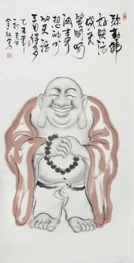 郑金林四尺竖幅人物画佛像《弥勒佛》
