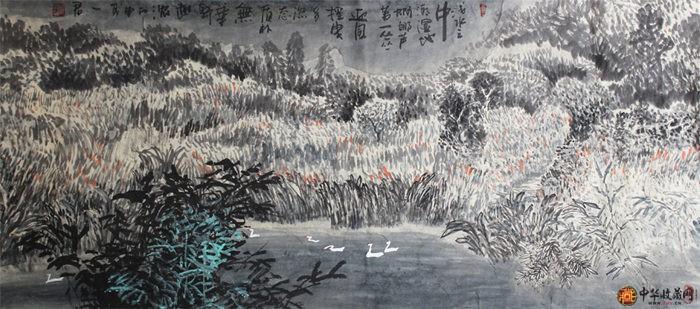 刘一军四尺整山水画作品《浅水》