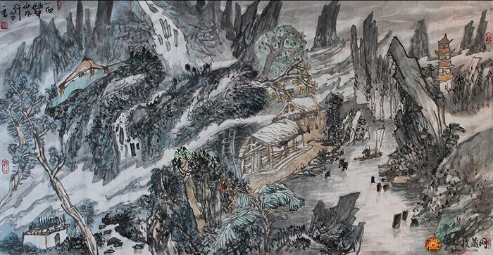 刘一军四尺整山水画作品《一帘幽梦》