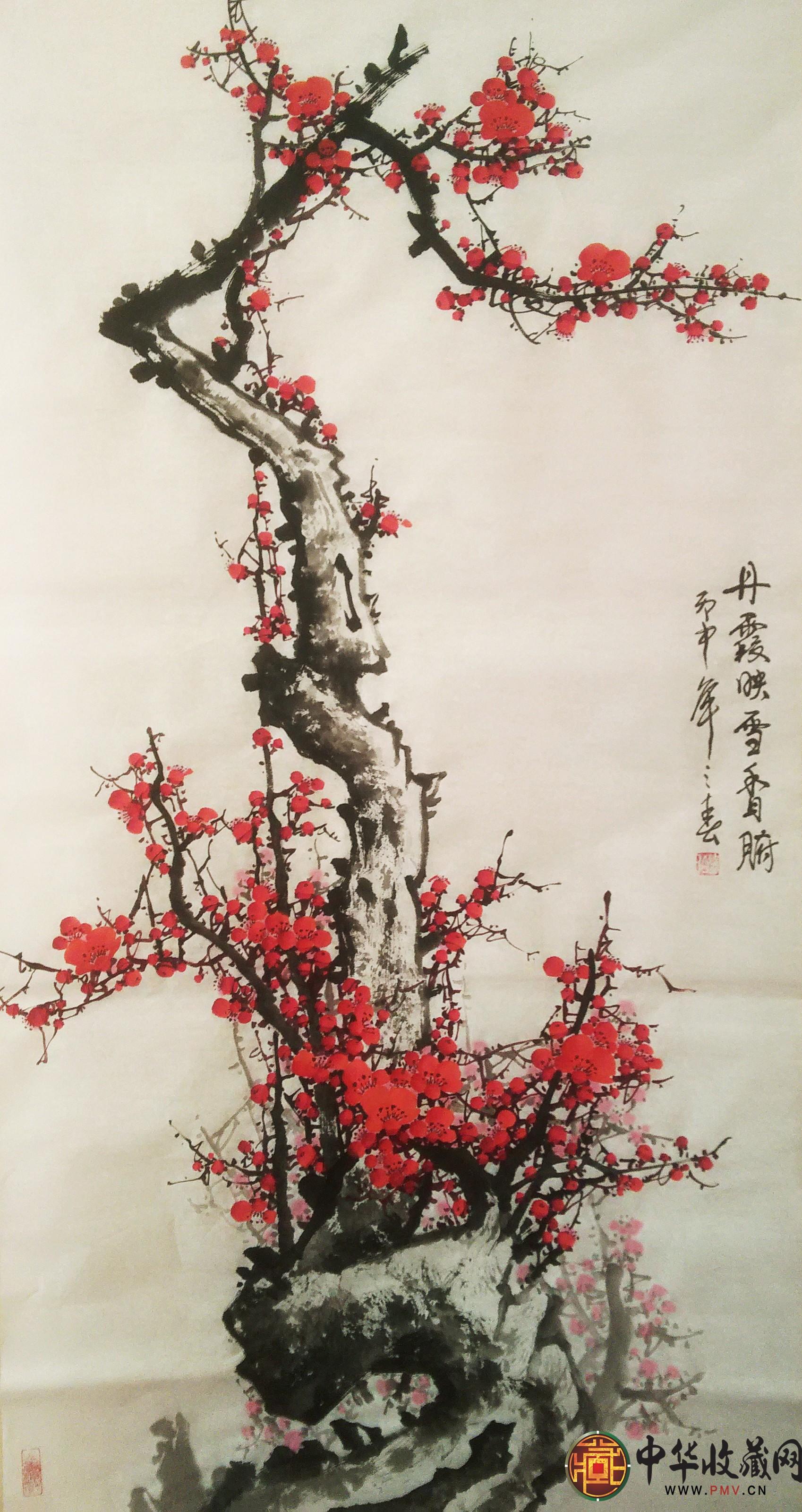 李森四尺竖幅国画作品《丹霞映雪香沁腑》