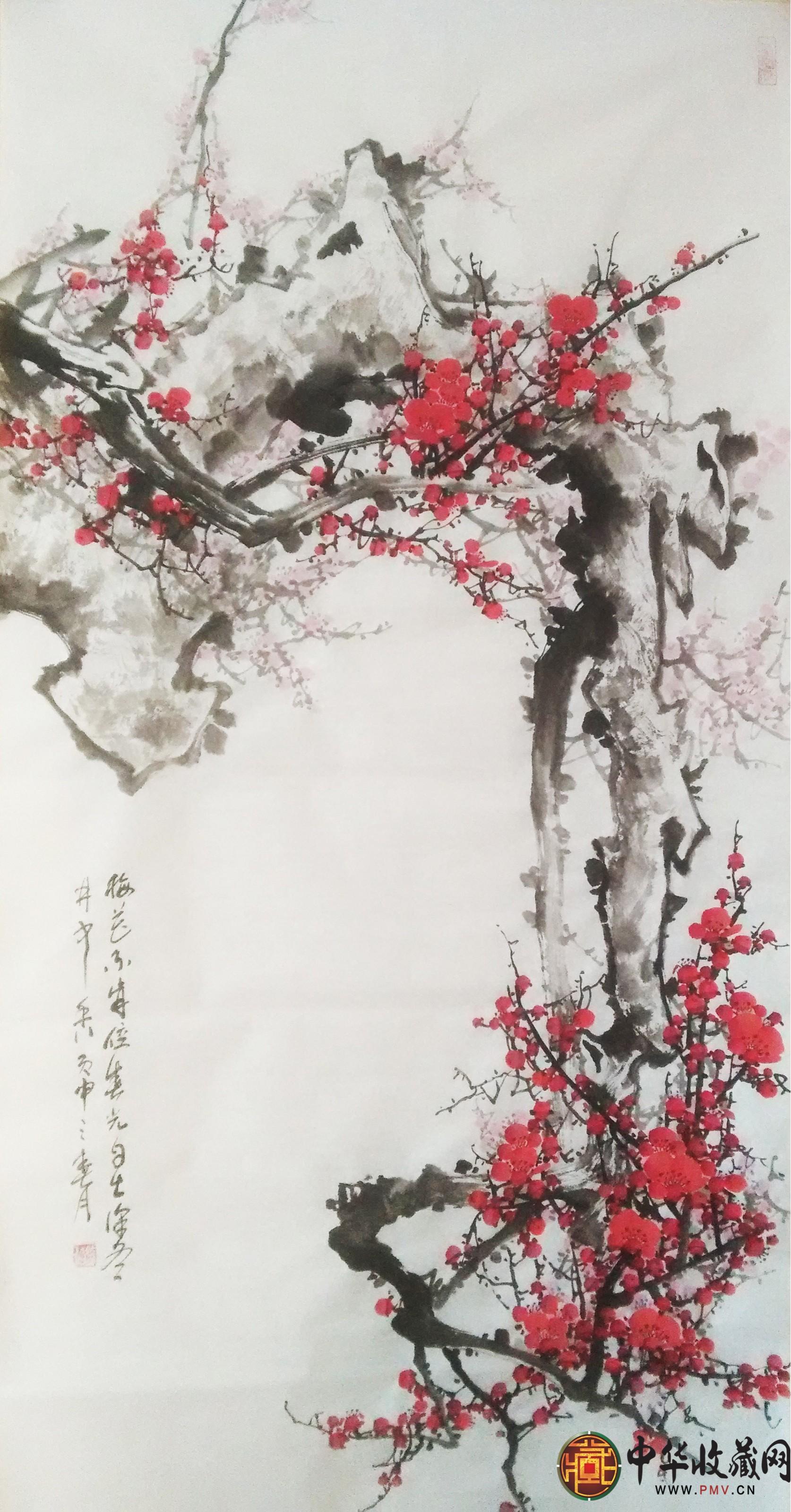 李森四尺竖幅国画作品《梅花不肯傍春光自在深冬月中香》