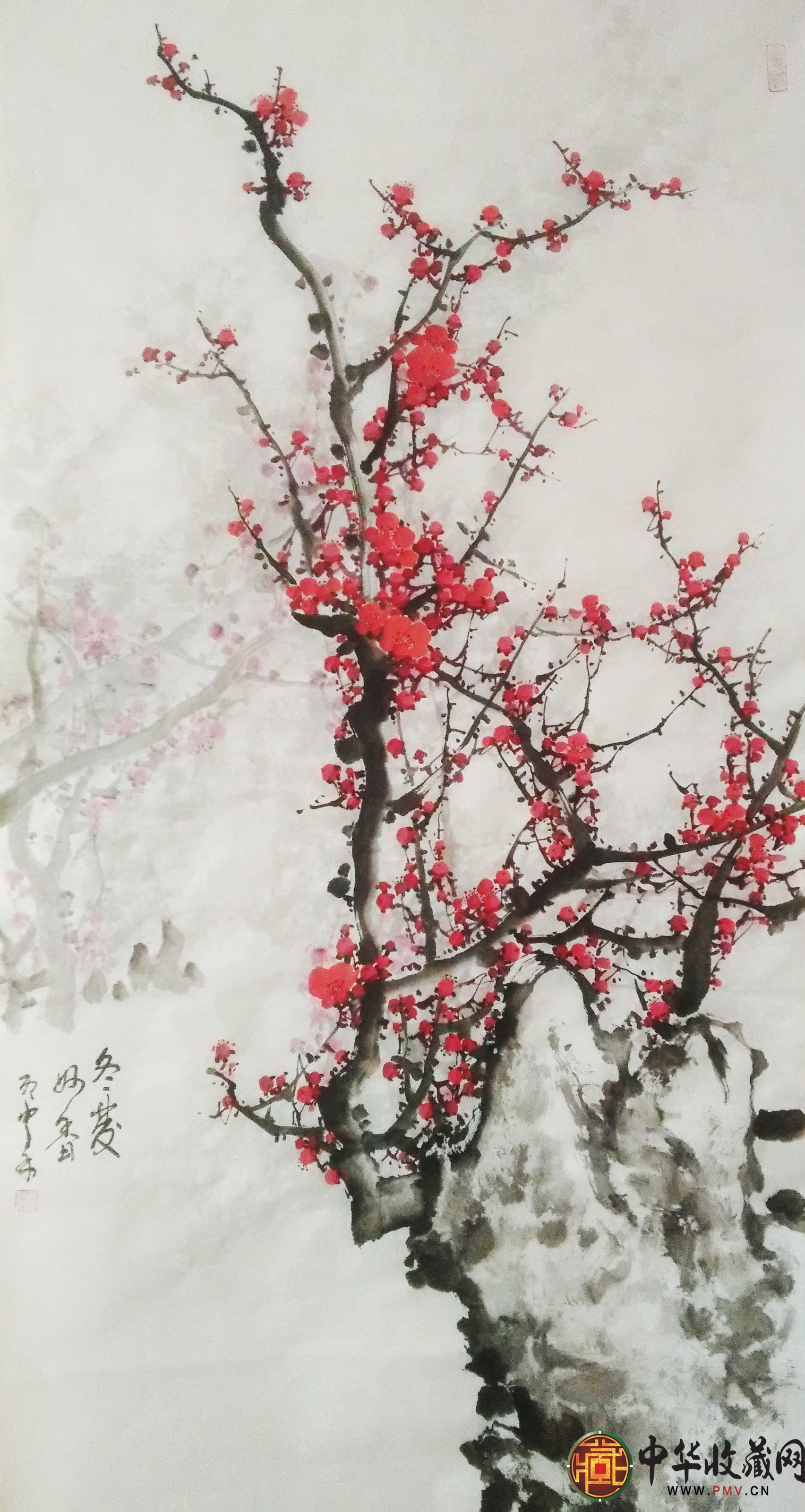 李森四尺竖幅国画作品《冬发秒香》
