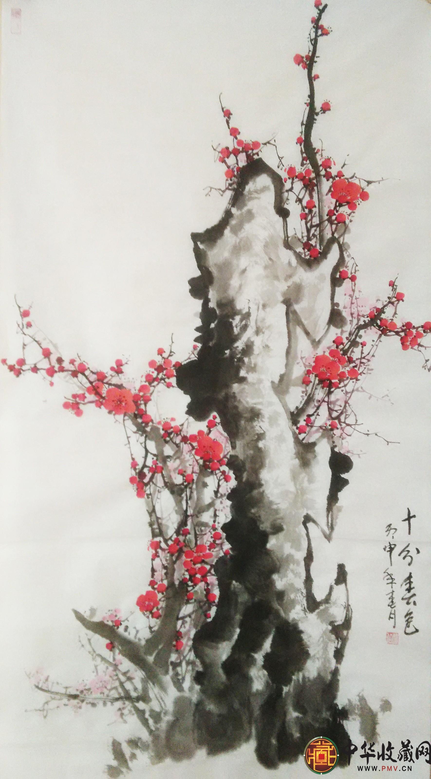 李森四尺竖幅国画作品《十分春色》