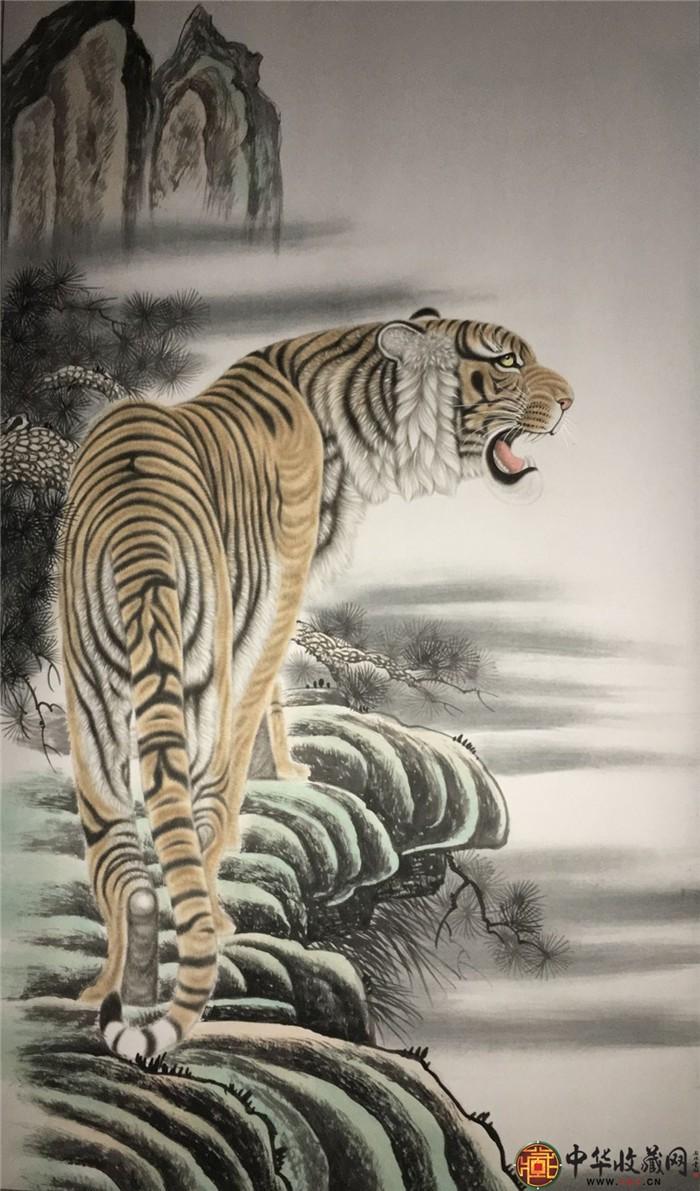 王朋动物国画作品《上山虎》