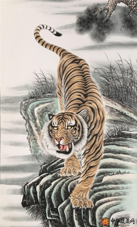 王朋六尺国画作品《下山虎》