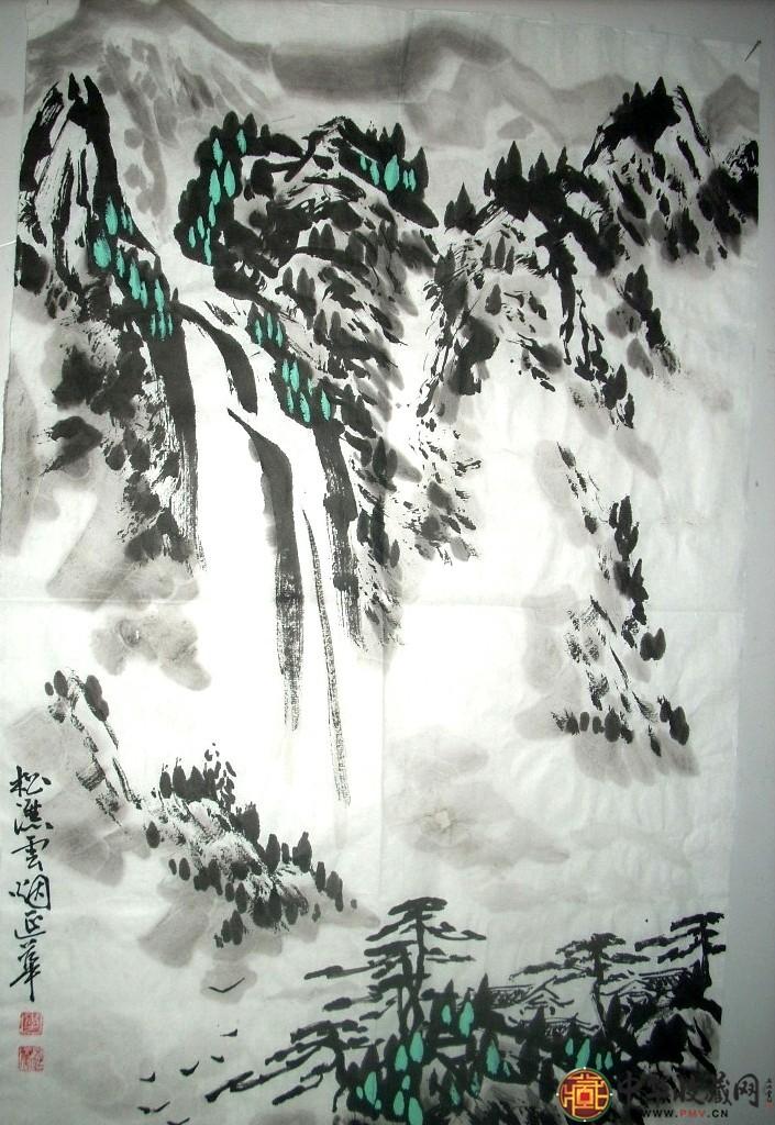 李延华四尺三开山水国画作品《松瀑云烟》