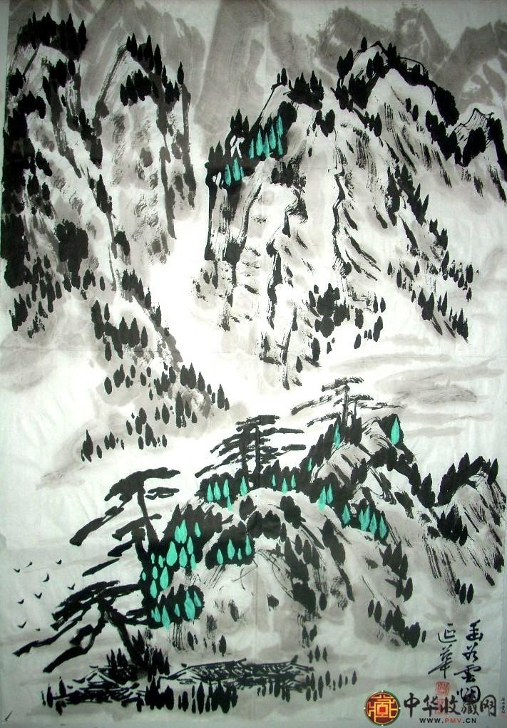 李延华四尺三开山水国画作品《幽谷云烟》