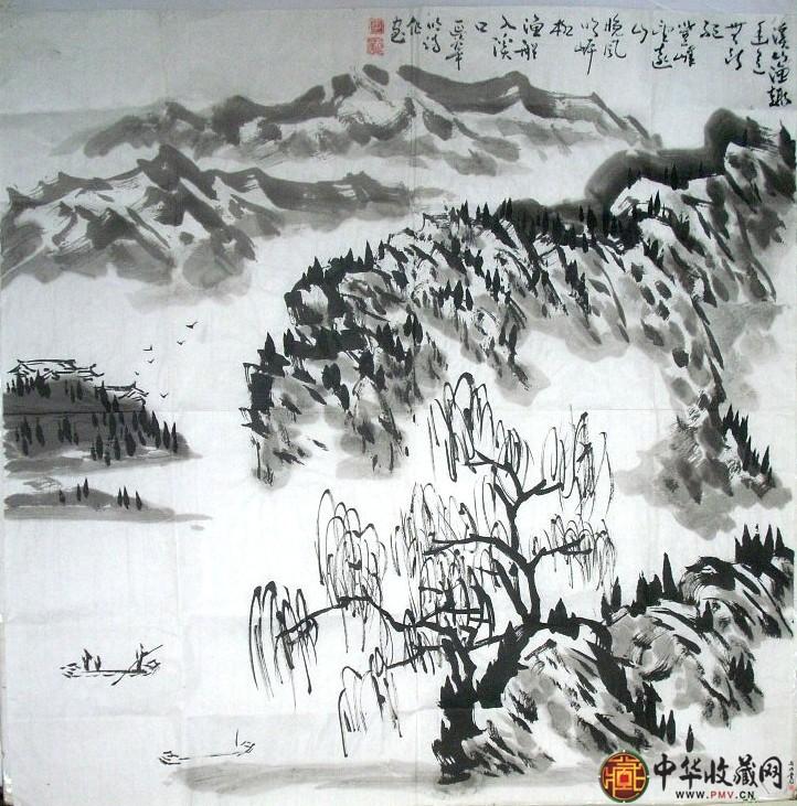 李延华山水国画作品《溪山渔趣》
