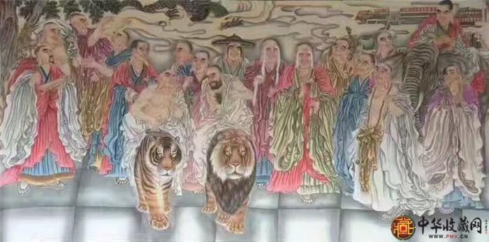 王朋八尺国画作品《十八罗汉》