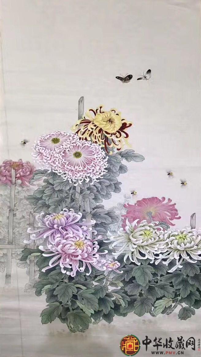 王朋四尺国画作品《精品菊花》