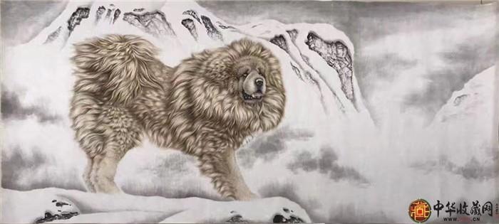 王朋四尺国画作品《藏獒》