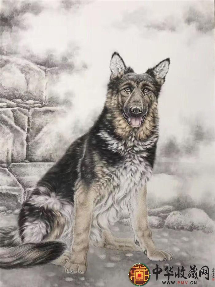王朋四尺国画作品《狗》