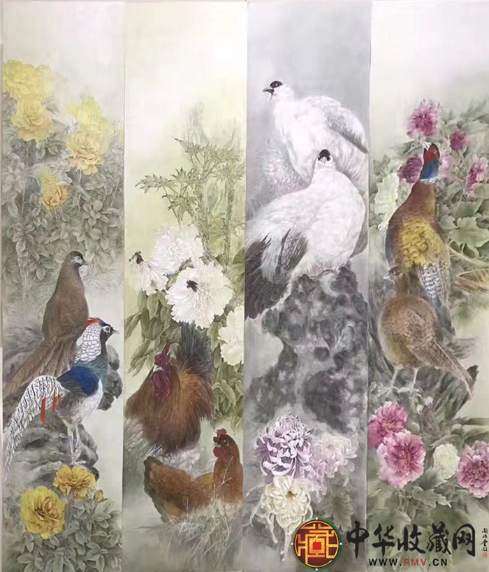 王朋四条屏国画作品《富贵大吉》