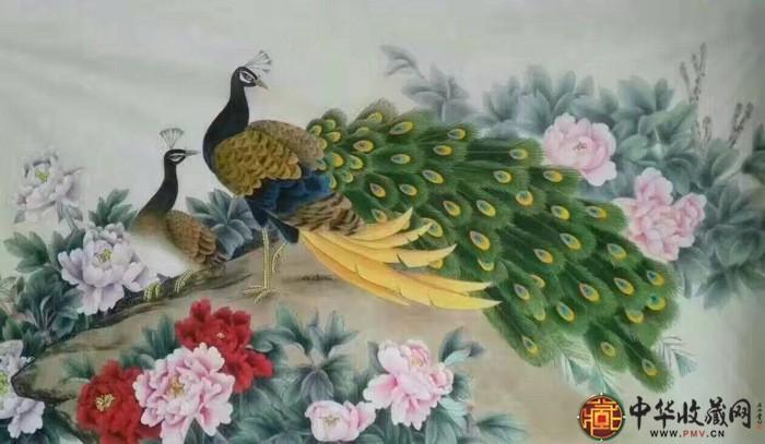 王朋花鸟六尺整张国画作品《锦绣富贵》
