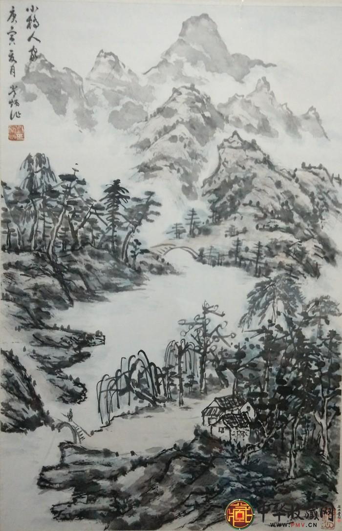 刘常炳小尺寸山水国画作品《小桥人家图》