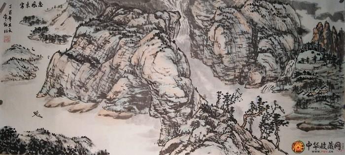 刘常炳三尺横幅山水国画作品《惠风乘客图》
