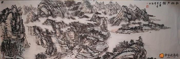 刘常炳六尺横幅山水国画作品《江山多娇图》