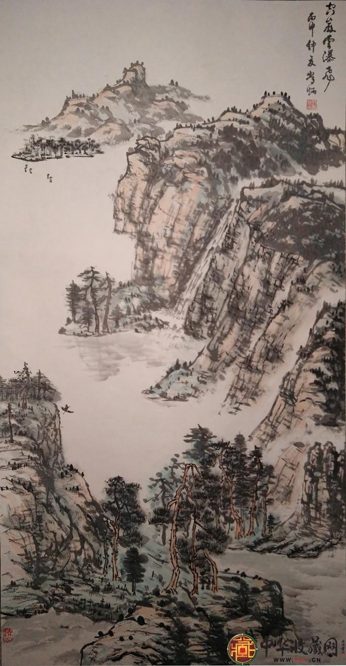 刘常炳四尺竖幅山水国画作品《空岩云瀑飞图》