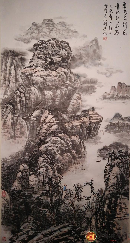 刘常炳四尺竖幅山水国画作品