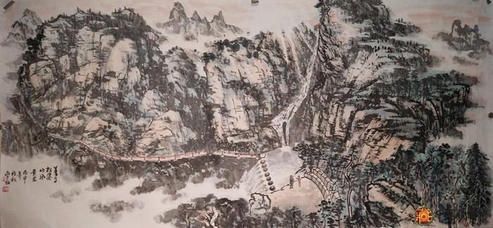 刘常炳四尺横幅山水国画作品《义乌松瀑山图》