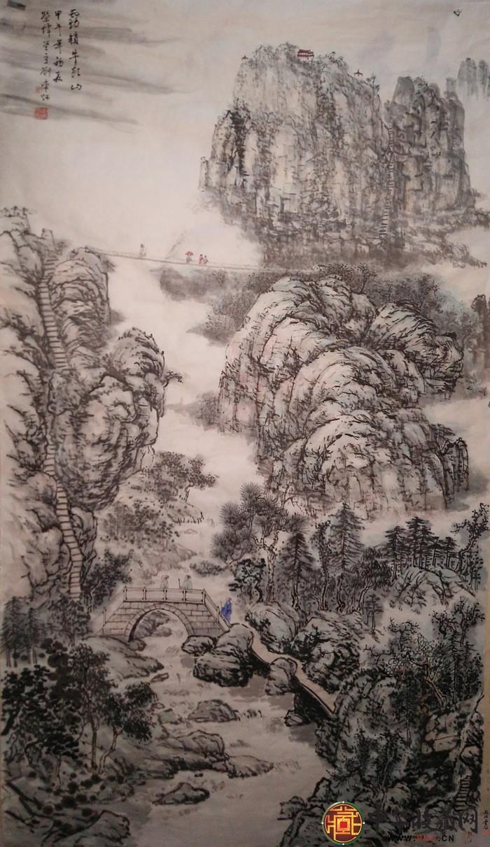 刘常炳六尺竖幅山水国画作品《霧锁牛头山》