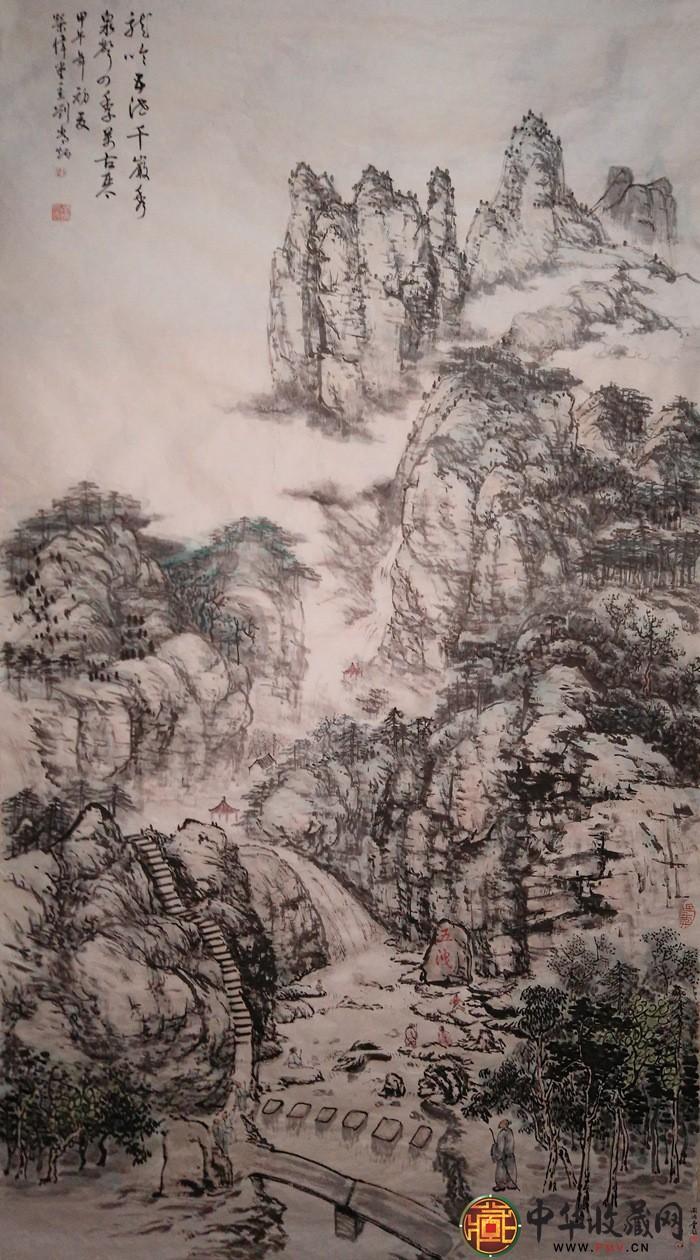 刘常炳六尺竖幅山水国画作品《诸暨五泄图》