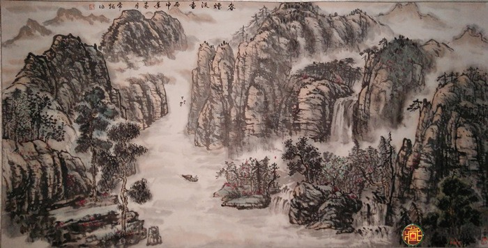 刘常炳六尺横幅山水国画作品《春烟流香图》