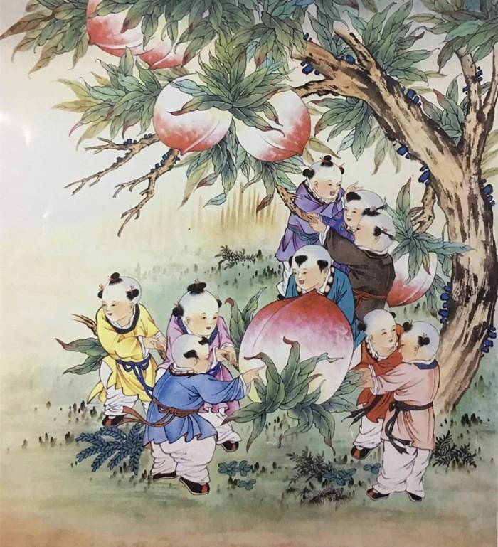 王朋四尺斗方国画作品《童趣》