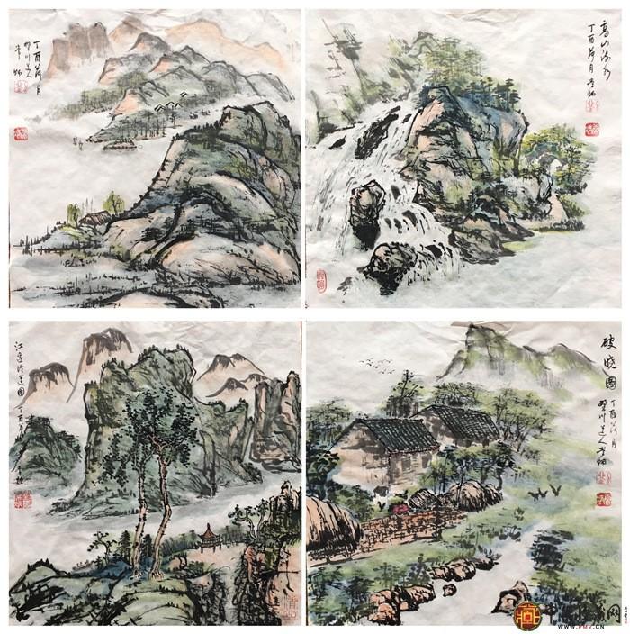 刘常炳山水册页四开