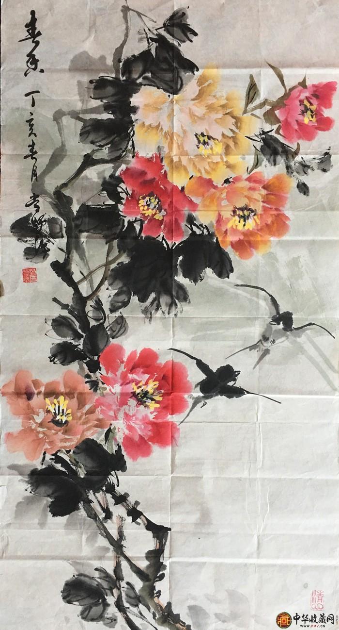 刘常炳三尺竖幅国画作品青香牡丹图