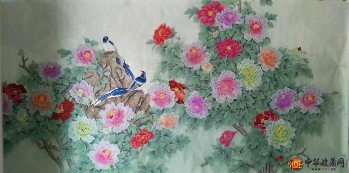 王朋八尺横幅花鸟画作品《富贵满堂》