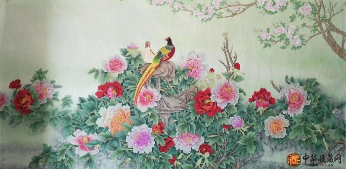 王朋八尺花鸟画作品《花开富贵》
