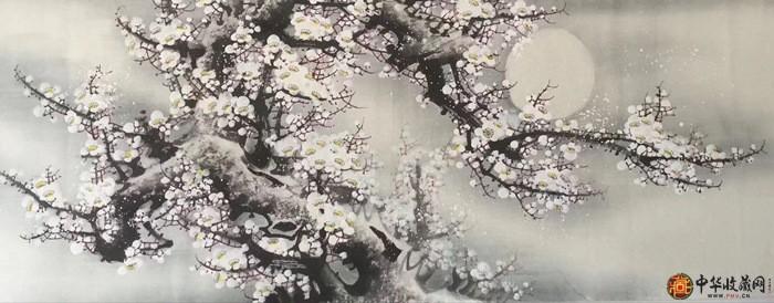 王朋四尺横幅作品《梅花香自苦寒来》