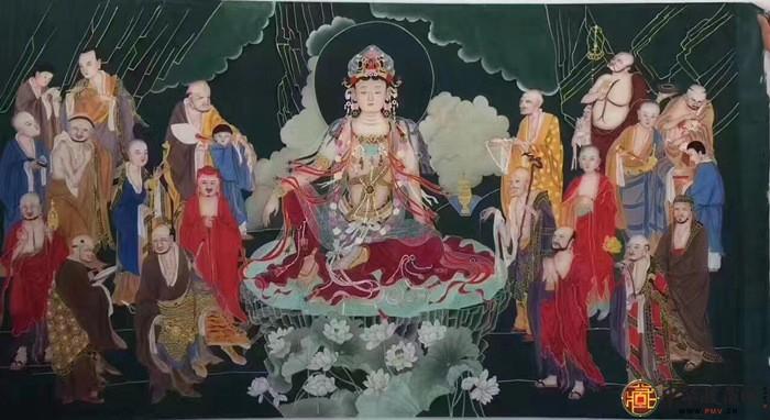 王朋八尺横幅作品《十八罗汉观音》