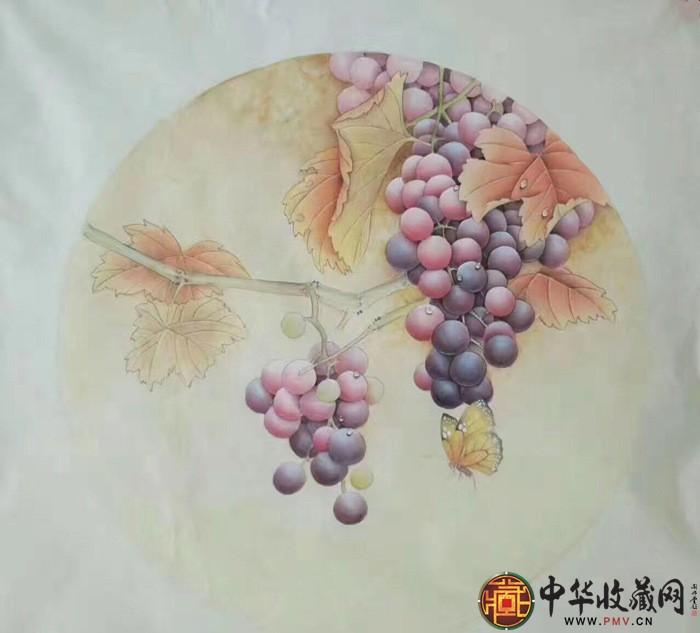 王朋四尺斗方作品葡萄园