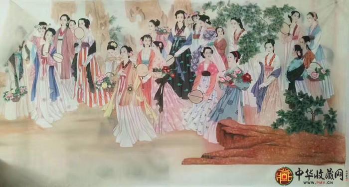 王朋八尺横幅作品《贵妃出浴》