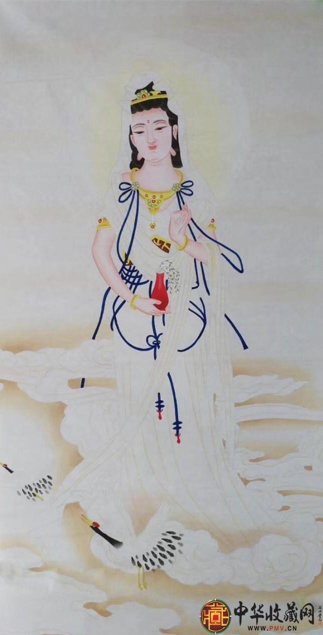 王朋四尺竖幅菩萨画作品