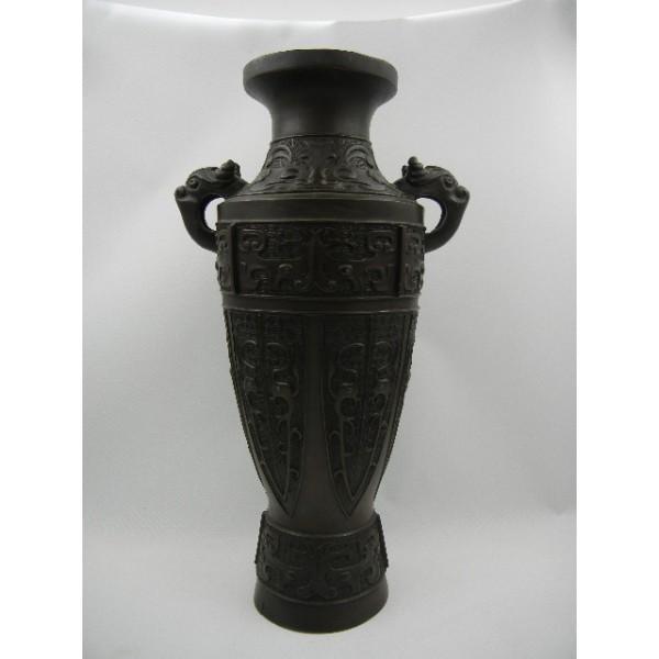 清中期仿战国饕餮双兽纹青铜花瓶一只包快递