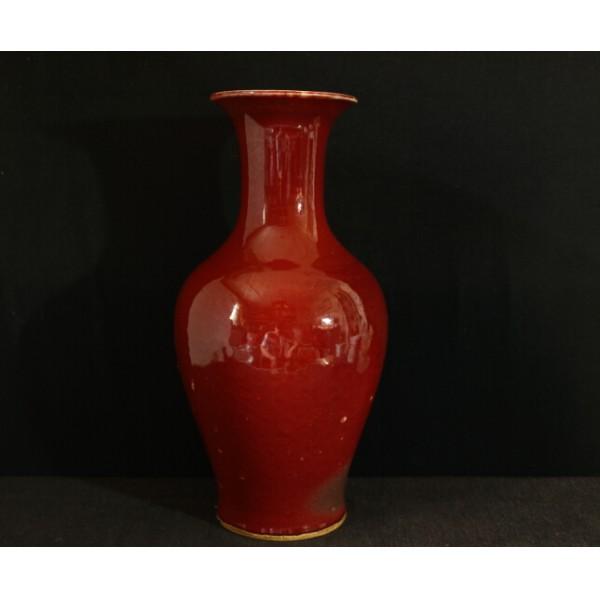 清癸红釉观音瓶