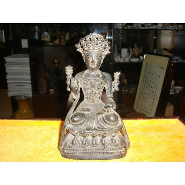 明正德红铜雕文殊菩萨莲花座像
