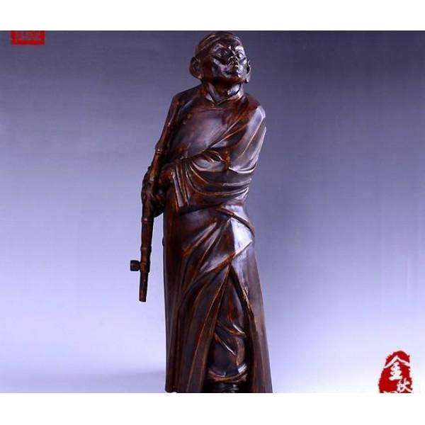 (金秋阁)福州传统黄杨木雕人物精品摆件林嫩俤大师作品瘾君子