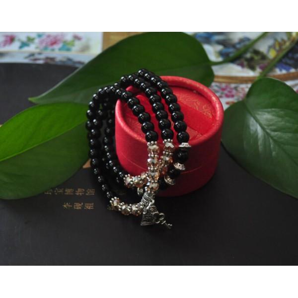 天然黑玛瑙佛珠手串 水晶切面配珠 藏银饰品(包邮)