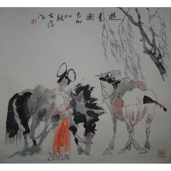 刘大为游春图 68X68cm