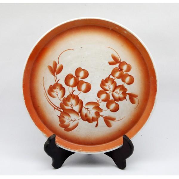 文革唐山花卉瓷盘
